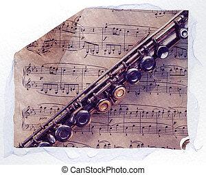 flauta, hoja, Música