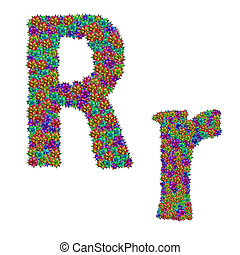letter R made from bromeliad flowers isolated on white...