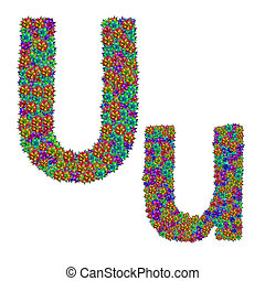 letter U made from bromeliad flowers isolated on white...