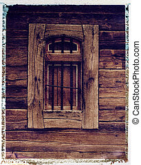 old grainery window - Polaroid image transfer on Watercolor pape