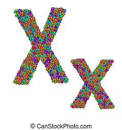 letter X made from bromeliad flowers isolated on white...