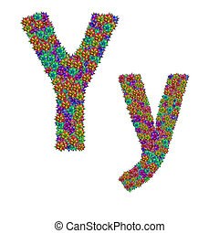 letter Y made from bromeliad flowers isolated on white...