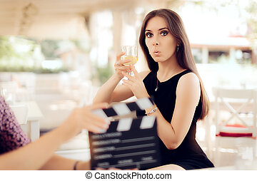 Surprised Actress Holding a Glass - Portrait of a funny girl...