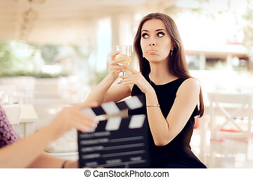 Upset Actress Holding a Glass - Portrait of a funny girl...