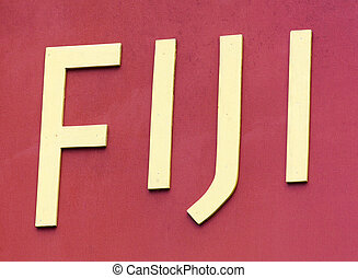 Fiji - Close view of wooden letters on a board Suva, Fiji
