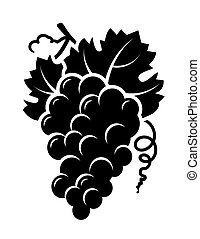 grapes branch icon - isolated grapes branch icon with leaf...