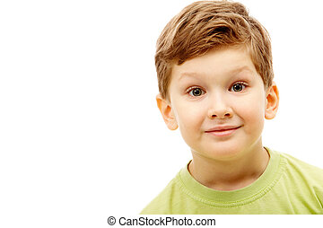 Boy - Portrait of young boy wearing green t-shirt isolated...