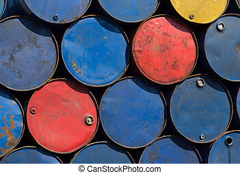 Metal barrels at scrapyard - Oil barrels or chemical steel...