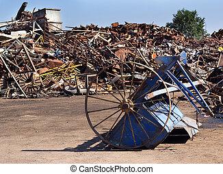 Metal scrap in junkyard - Metal scrap on pile in junkyard....