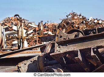Metal scrap in junkyard - Metal scrap on pile in junkyard...