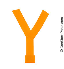 Letter Y symbol made of insulating tape pieces, isolated...