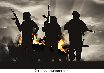 Armed terrorists and burning tank - Terrorism and conflict....