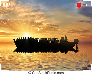 Ferry boat with refugees - Refugees concept. Ferry boat with...