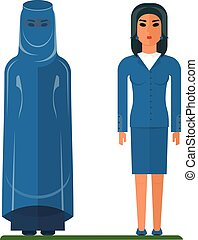 arab woman traditional and business - Cartoon flat vector...