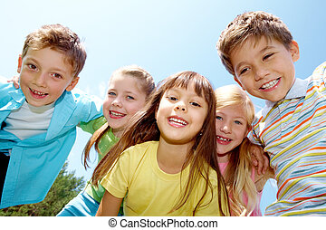 Happy childhood - Portrait of happy kids representing youth...