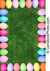 Easter framing - Vertical image composed as colorful egg...