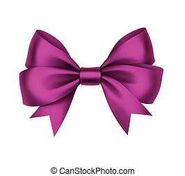 Vector Shiny Magenta Satin Gift Bow Close up Isolated on White Background