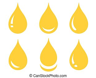 set of glossy oil drop - set of glossy yellow oil drop on...