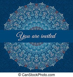 Intricate Blue mandala Invitation - Vector Mandala...