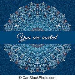 Intricate Blue mandala Invitation - Vector Mandala...