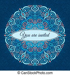 Light Blue Mandala Invitation - Vector Mandala Invitation...