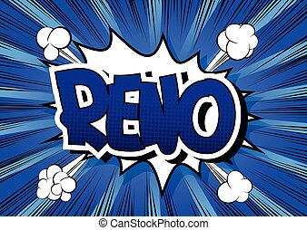 Reno - Comic book style word on comic book abstract...