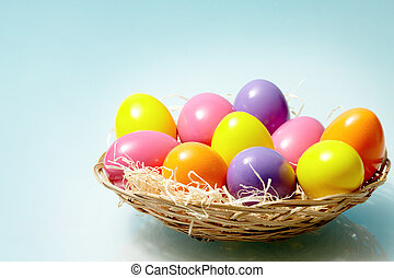 Easter composition - Image of colorful Easter eggs in basket...