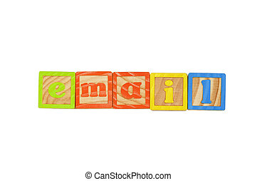 Email - Childrens Alphabet Blocks spelling the word Email