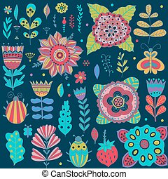Graphic collection with leaves, herbs, bugs, butterflies and flowers, drawing elements.