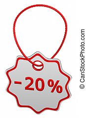Discount - 20 % tag. 3D rendering.