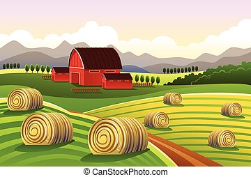 Farm Scene with Rolled Hays - A vector illustration of farm...