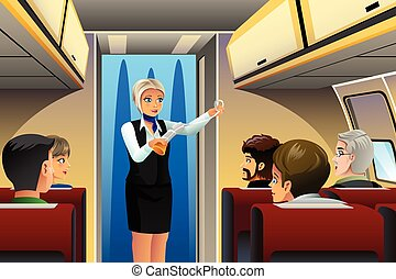 Flight Attendant doing Safety Demonstration - A vector...