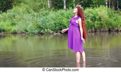 pregnant woman at the river - Beautiful long-haired pregnant...