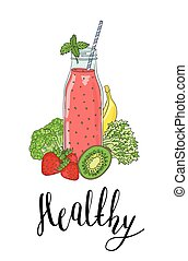 Bottle smoothies with fruits, vegetables and the phrase a...