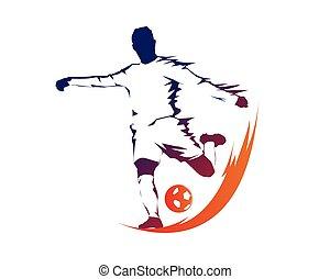 Modern Soccer Ball On Fire Logo