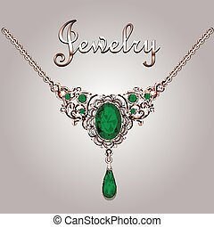 Pendant necklace with precious stones and filigree jewelry lettering. Vintage jewelry background