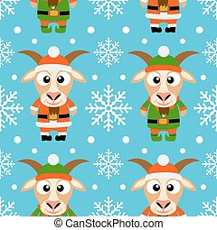 New Year seamless card with goat - New Year seamless card...
