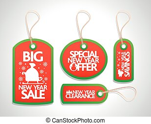 New Year Sale Tags Set ,red