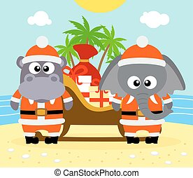 Clipart Vector of Couple Christmas Santa Hat Tropical Beach ...