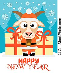 New Year card with goat santa claus - Happy New Year card...