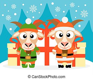 Happy New Year card with goat santa claus and goat elf...
