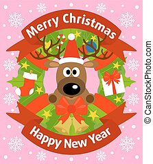 New Year background card with deer