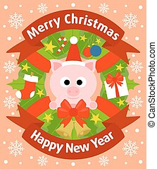 Christmas and New Year background with pig