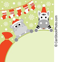 New Year card with hippo and zebra