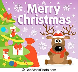 Christmas background card with deer