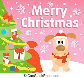 Christmas background with dog