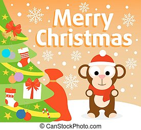 Christmas  background with monkey