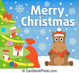 Christmas background with horse