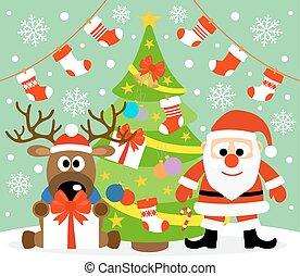 nouveau, fond,  Santa, année