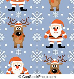New Year seamless background with deer and Santa Claus